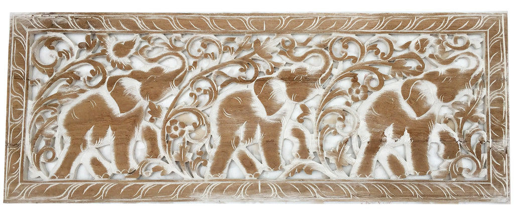 "Tropical Home Decor. Carved Wood wall Art. Elephant wood carved Wall decor. Decorative Thai Wall Relief Panel Sculpture. 35.5""x13.5""x0.5"" Color Options Available"