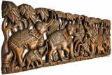 Family elephant carved wood wall art panel
