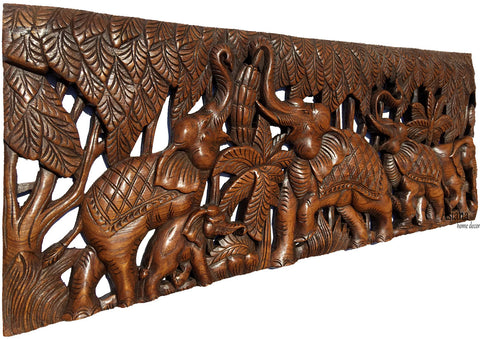 Elephant Family Wood Carved Wall Panel Tropical Home Decor 355x135x05 Extra Thick