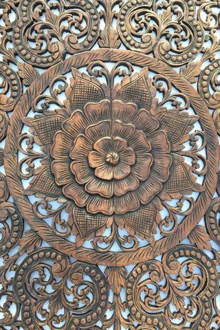 Wood carved floral wall art asian home decor wall