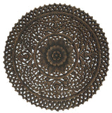 Rustic wall decor round carved wood wall hanging