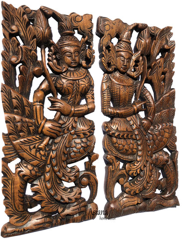 "Thai Asian Figure with lotus flower carved wood wall art panel. 17.5""x7.5""x1"" Each, Set of 2 pcs."