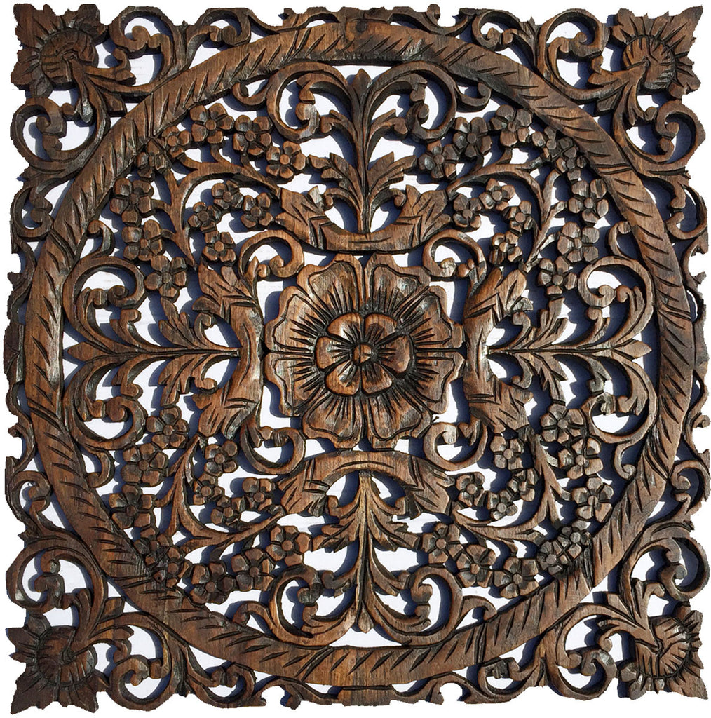 Carved Wood Wall Art Part - 38: Oriental Carved Floral Wall Decor. Unique Asian Wood Wall Art. Large Square Carved  Wood