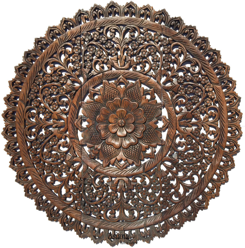 Elegant Medallion Wood Carved Wall Plaque. Round Wood Carved Floral Rustic Home  Decor Wall Art