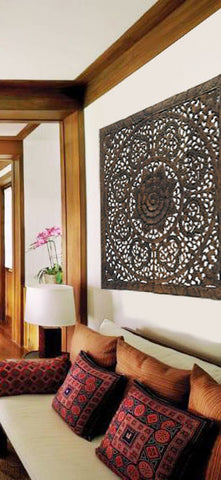 Wood Carved Floral Wall Art Asian Home Decor