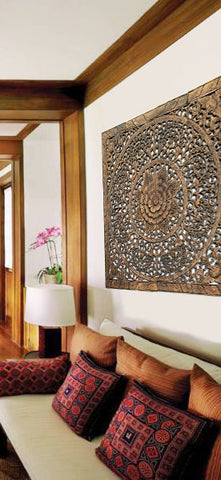 "Elegant Wood Carved Wall Plaque. Wood Carved Floral Wall Art. Asian Home Decor Wall Art Panels. Bali Home Decor. 48"" Available in Black Wash, Dark Brown, White Wash and Espresso"