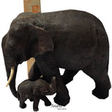 Momy and Baby Elephant Carved Wood Centerpiece Accent Table.