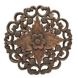 "Oriental Carved Lotus Round Wood Plaque.Decorative Thai Wall Relief Panel Sculpture. Teak Wood Wall Hanging. Rustic Wall Decor. Brown Finish Size 17.5""x17.5""x1"""