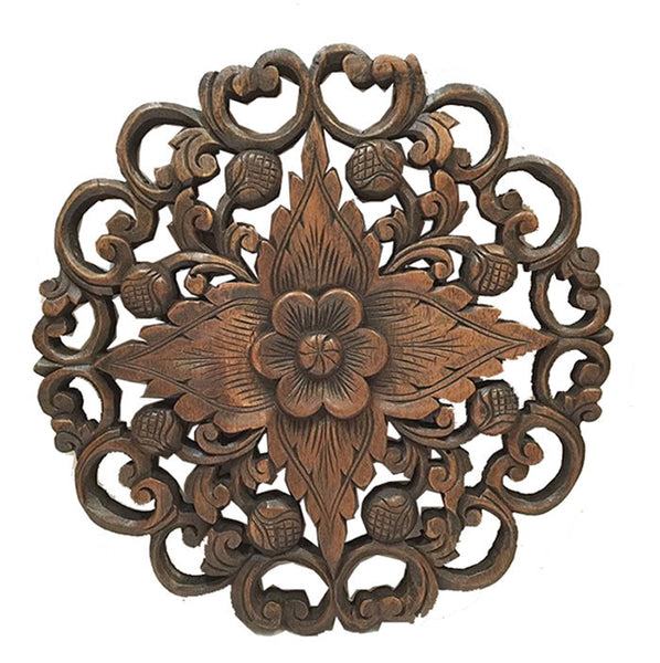 Wall Decor. Oriental Carved Wood Round Plaque