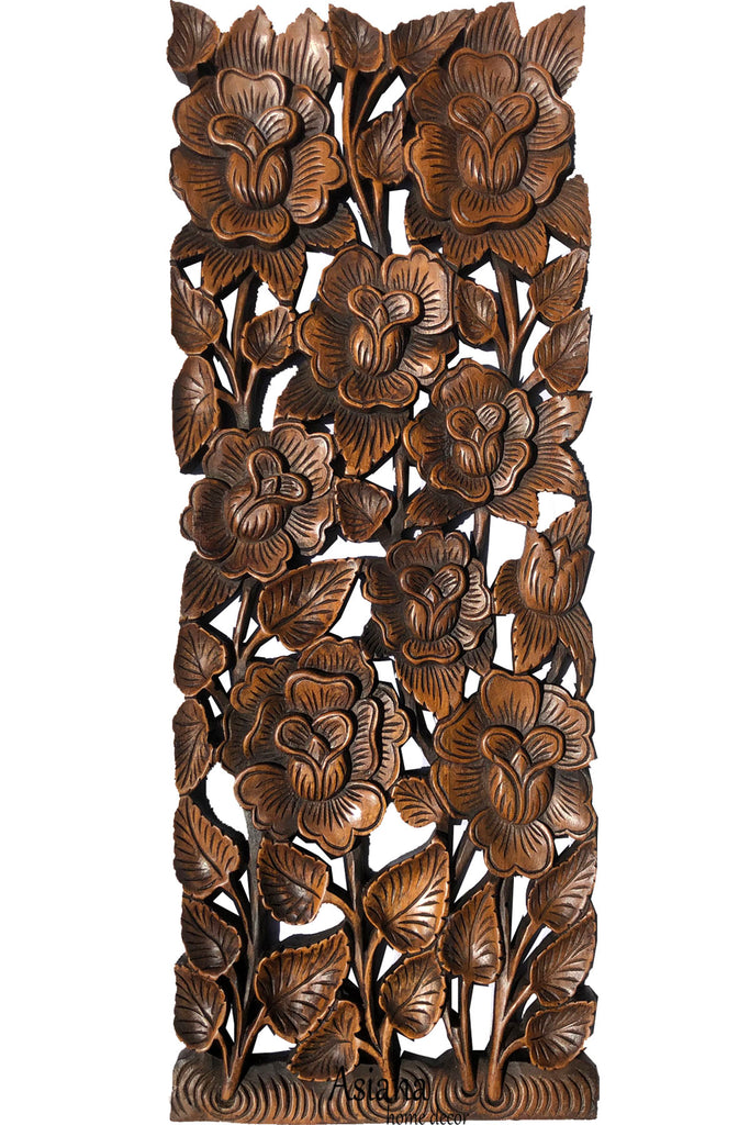 "Rose Flower Carved Wood Wall Panel. Brown 35.5""x13.5"" Extra Thick Color Options Available"