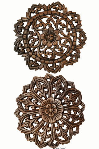 Round Floral Carved Wood Wall Decor. Set of 2 Brown 12""
