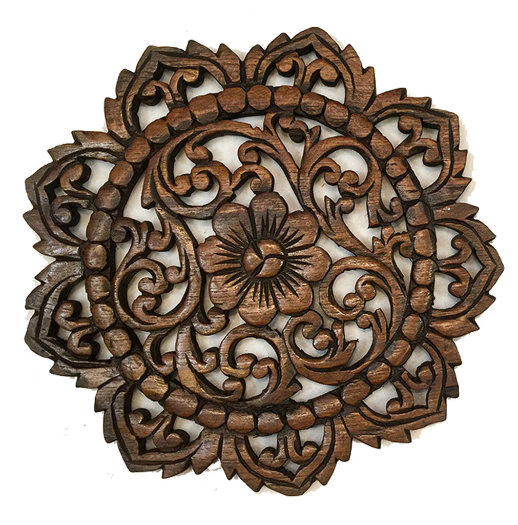Round wood plaque oriental carved lotus teak wood wall hanging rusti asiana home decor - Rustic wall plaques ...