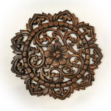 "Round Wood Plaque. Oriental Carved Lotus.Teak Wood Wall Hanging. Rustic Wall Decor. Size 12""x12""x0.5"" Available in Brown"