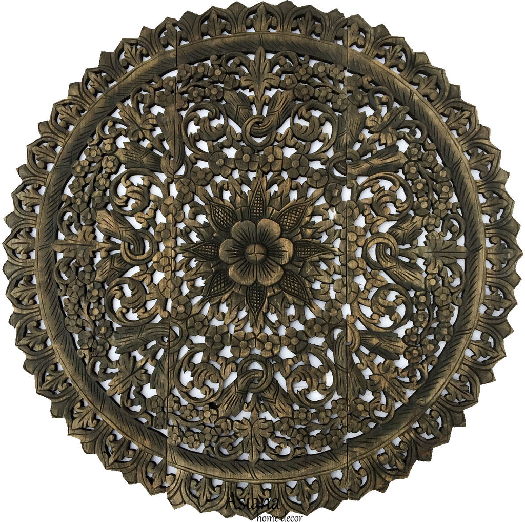 Elegant Medallion Wood Carved Wall Plaque. Floral Bali Rustic Home Decor Wall  Art. Asian