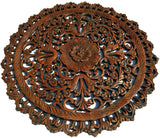 Oriental Round Carved Wood Wall Decor. Decorative Floral Wall Plaques. Teak Wood Wall Hangings. Lotus Wood Carved Wall Art. Color Options Available 24""