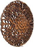 Round floral carved wood wall art plaque
