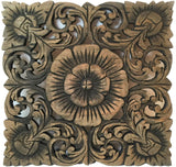 "Rustic Home Decor Wood Plaque. Square Oriental Carved Lotus. Hand Carved Wall Art Decor Panel. Indoor and Outdoor Decor. Color Options Available Size 12""x12""x0.5"""