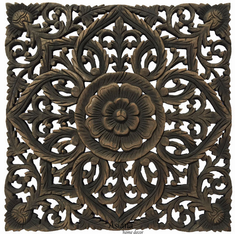 "Oriental Carved Floral Wall Art Panel Home Decor. Rustic Wall Hanging. 24""x24""x0.5"" Color Options Available"