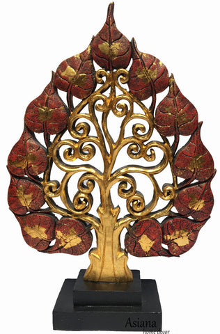 Clearance Centerpiece Accent Home Decor Carved Wood Tree Statue with Stand
