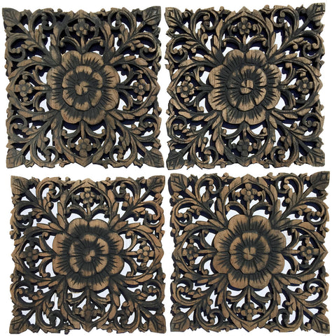 "Rustic Home Decor Wood Plaque. Bali Home Decor. Oriental Carved Lotus Home Decor. Decorative Thai Wall Relief Panel Sculpture. Teak Wood Wall Hanging. Black Wash Size 12"", Set of 4"