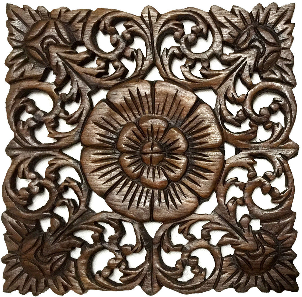 Carved Wall Art rustic home decor wood plaque. square oriental carved lotus. hand
