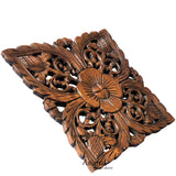 squar flower wood carving decor