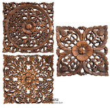 small square carved wood wall art