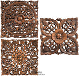 small square floral carved wood wall art set
