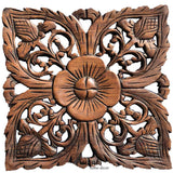 "Floral Wood Wall Plaque Home Decor. Set of 4. 12"" Square"