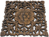 "Wood Plaque Oriental Carved Lotus. Rustic Wall Decor. Hand Carved Wall Art Decor Panel. Thai Decorative Wood Panels. Available in Black Wash and Brown Finish Size 12""x12""x0.5"""