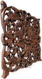 "Tropical Floral Carved Wood Square Plaque. Dark Brown Finish Size 17.5""x17.5""x1"""