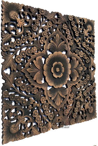 square floral carved wood wall art decor black wash