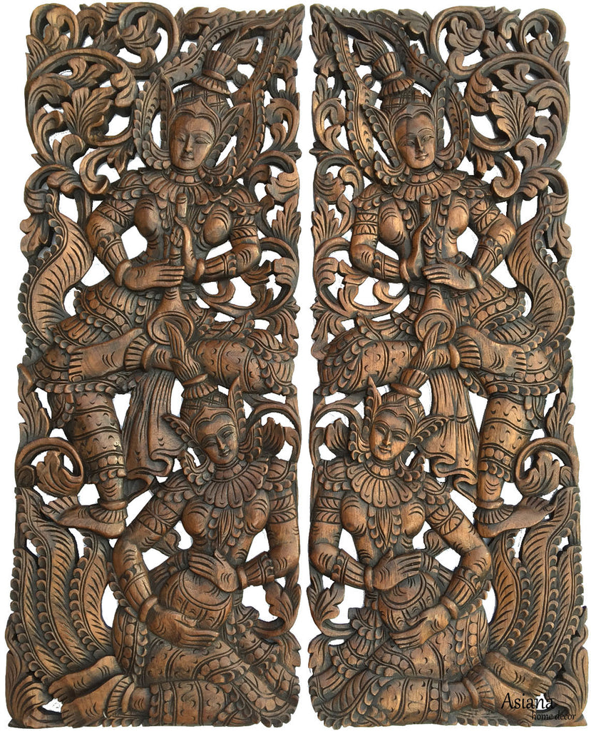Traditional Thai Figure Carved Wood Wall Decor Panels. Asian Home Decor.  Decorative Wood Carving