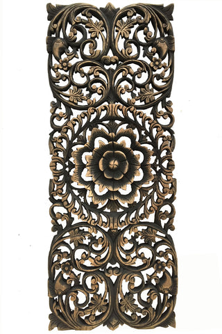 Floral Wood Carved Wall Panel Wood Wall Decor For Sale