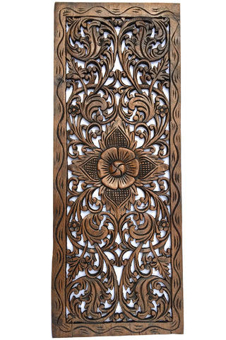 Wood Wall Hanging floral wood carved wall panel. wall hanging. decorative thai wall