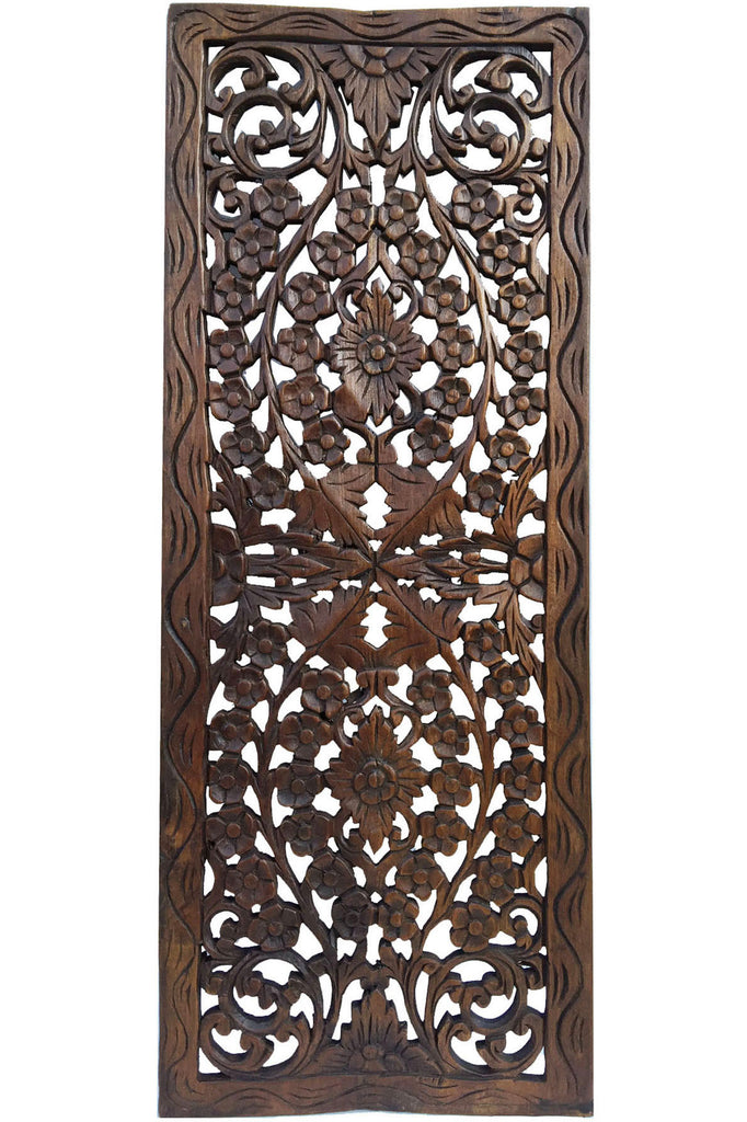 Floral wood carved wall panel decor for sale