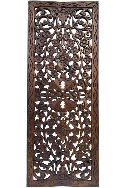 Floral Wood Carved Wall Panel. Wood Wall Decor for Sale ...