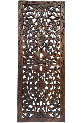 Floral Wood Carved Wall Panel Wall Hanging Asian Home Decor Decorative Thai Wall Relief Panel Sculpture Large Wood Wall Plaque 35 5 X13 5 X0 5