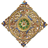 Mosaic Wall Art. Medallion Gold Carved Wood Wall Plaque Asian Home Decor 24""