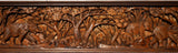 "Elephants in Forest Wood Carved Wall Teak Panel. Wildlife Wall Art Home Decor 8""x48"" Dark Brown"
