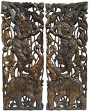 "Traditional Sawaddee Thai Figure and Elephant Carved Wood Panels. Asian Home Decor Wall Art. Brown Finish 35.5""x13.5""x1"" Each, Set of 2 pcs"