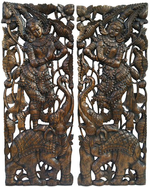 Carved wood sawaddee thai figure and elephant panel asian