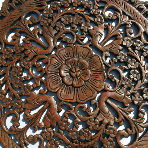 Oriental Round Carved Wood Wall Decor Decorative Floral Wall Plaques Teak Wood Wall Hangings Lotus Wood Carved Wall Art Color Options Available