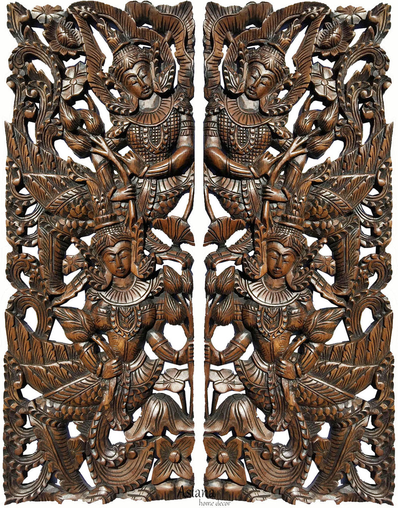 "Thai Figure with Lotus Carved wood wall art panels. Large Carved Wood Panels. Asian Home Decor Wall Art. Brown Finish 35.5""x13.5""x1"" Each, Set of 2 pcs"