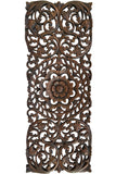 "Floral Tropical Carved Wood Wall Panel. Asian Wall Art Home Decor. Large Wood Wall Plaque. 35.5""x13.5 Extra Thick Available in Dark Brown and Black Wash"