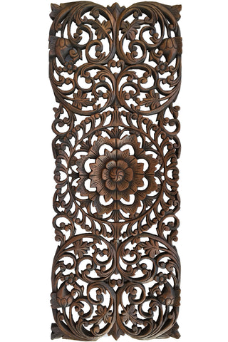 Floral Tropical Carved Wood Wall Panel Asian Wall Art Home Decor Large Wood Wall Plaque 35 5 X13 5 Extra Thick Available In Dark Brown And Black