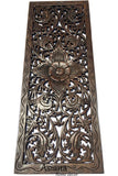 "Floral Wood Carved Wall Panel. Wall Hanging. Decorative Thai Wall Relief Panel Sculpture. Large Carved Wood Wall Panel. Size 35.5""x13.5""Available Color Options"