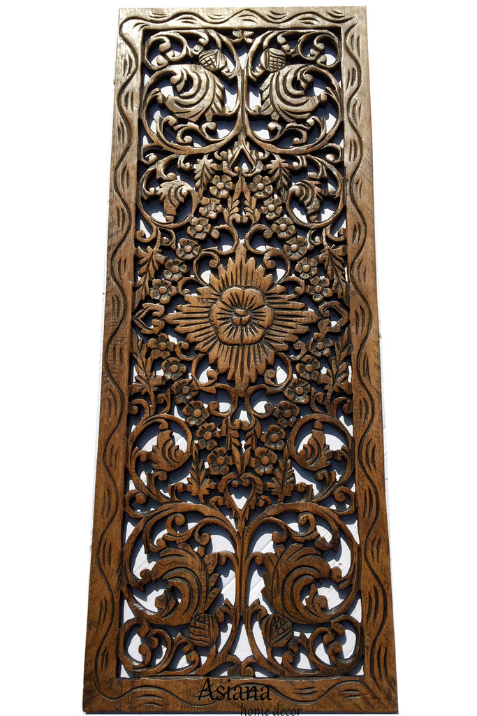Wall Panel Decor asian home decor.floral wood carved wall panel.wall art – asiana