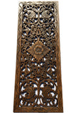 "Floral Wood Carved Wall Panel Decoration. Asian Home Decor Wall Hanging. Large Wood Wall Plaque 35.5""x13.5""x0.5"" Color Options Available"