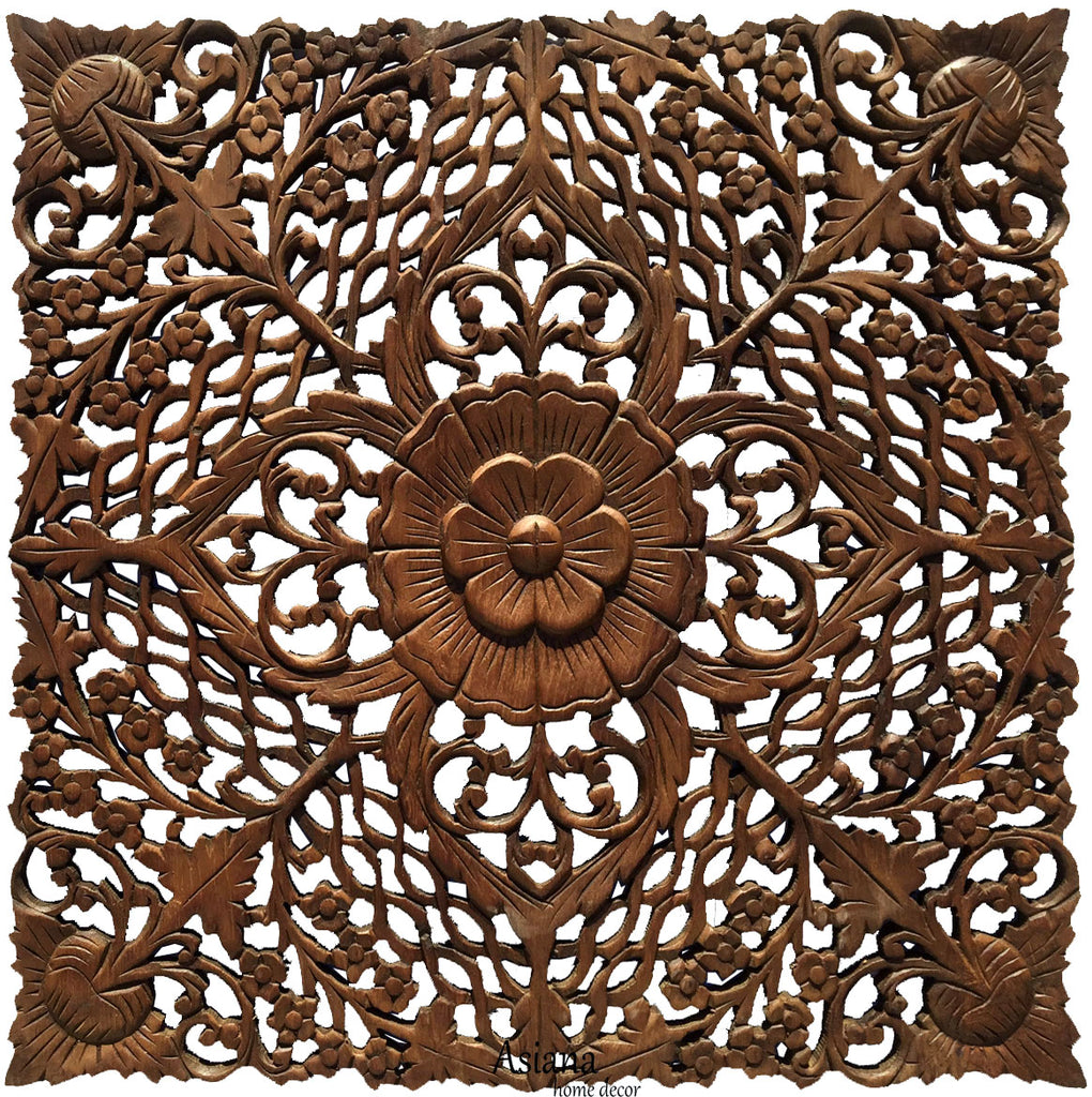 "Oriental Floral Carved Wood Wall Decor. Unique Asian Wood Wall Art. Square Rustic Home Decor. 24""x24""x0.5"" Brown"